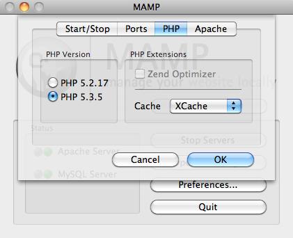 Configurazione della versione PHP