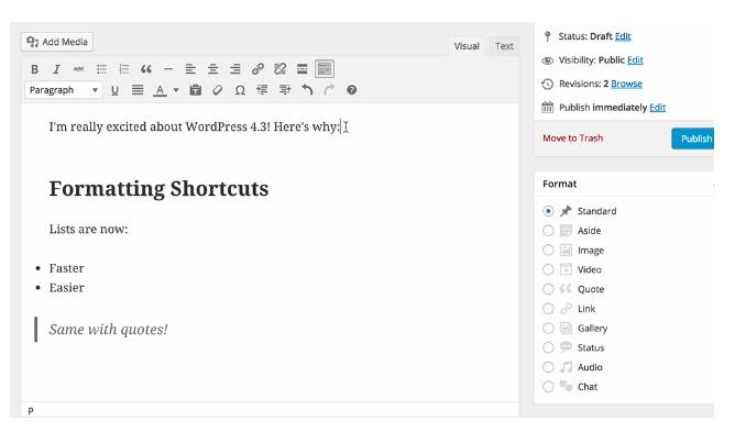 Scorciatoie di formattazione (shortcuts)